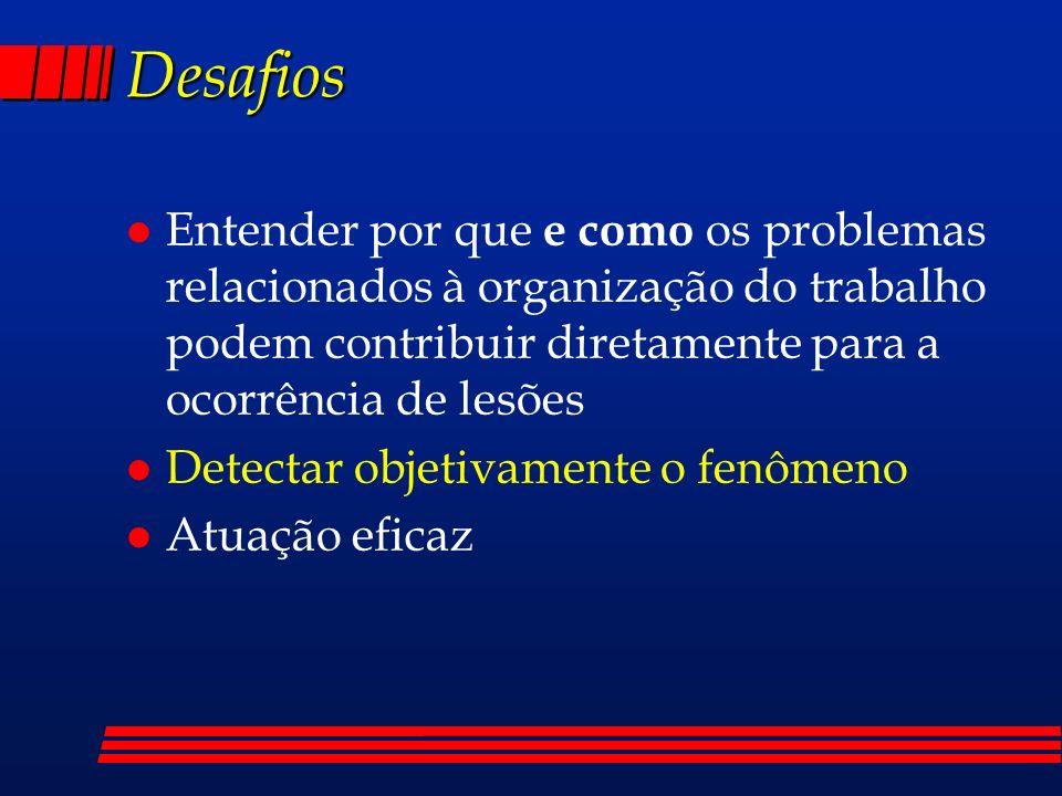 Desafios l Entender por que e como os problemas relacionados à organização do trabalho podem contribuir diretamente para a ocorrência de lesões l Dete