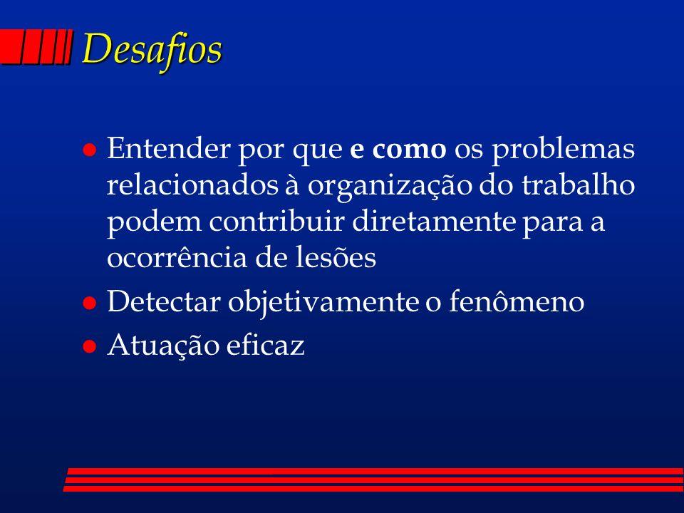 Desafios l Entender por que e como os problemas relacionados à organização do trabalho podem contribuir diretamente para a ocorrência de lesões l Detectar objetivamente o fenômeno l Atuação eficaz