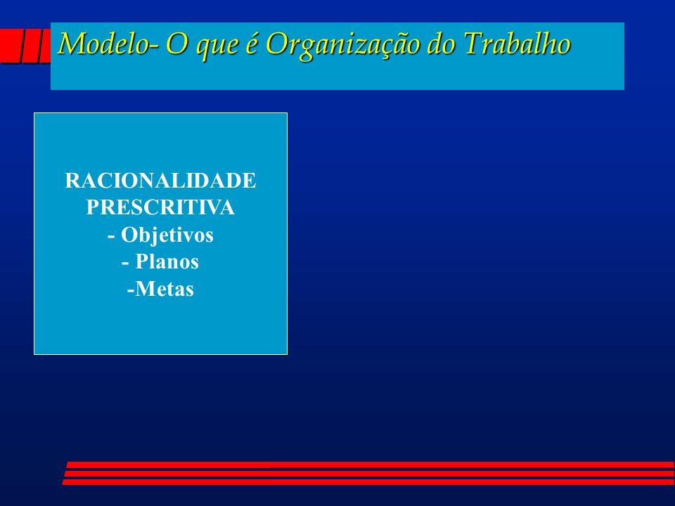 Modelo- O que é Organização do Trabalho RACIONALIDADE PRESCRITIVA - Objetivos - Planos -Metas