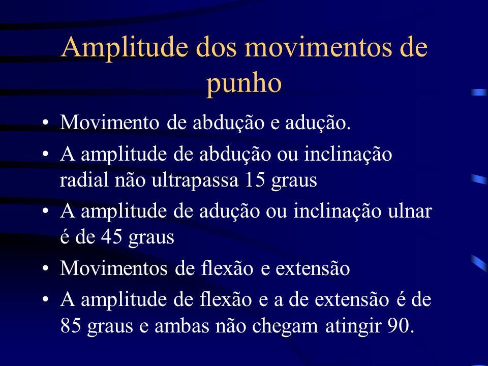 Amplitude dos movimentos de punho Movimento de abdução e adução. A amplitude de abdução ou inclinação radial não ultrapassa 15 graus A amplitude de ad