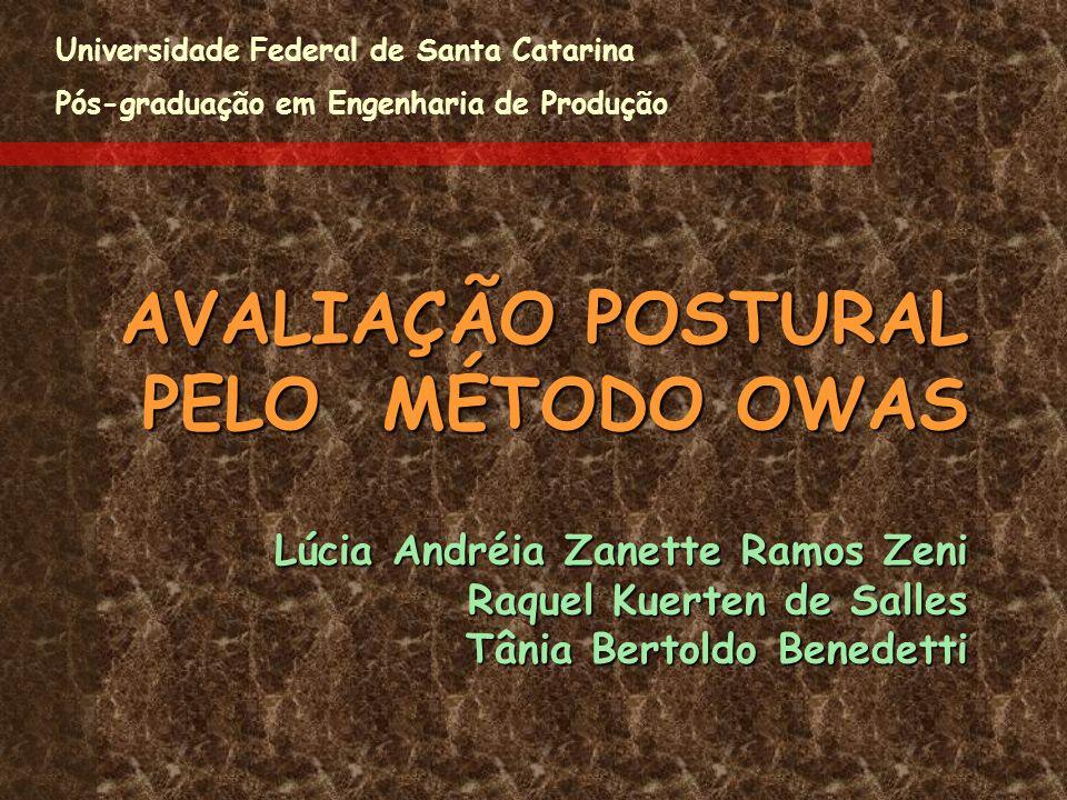 AVALIAÇÃO POSTURAL PELO MÉTODO OWAS Lúcia Andréia Zanette Ramos Zeni Raquel Kuerten de Salles Tânia Bertoldo Benedetti AVALIAÇÃO POSTURAL PELO MÉTODO