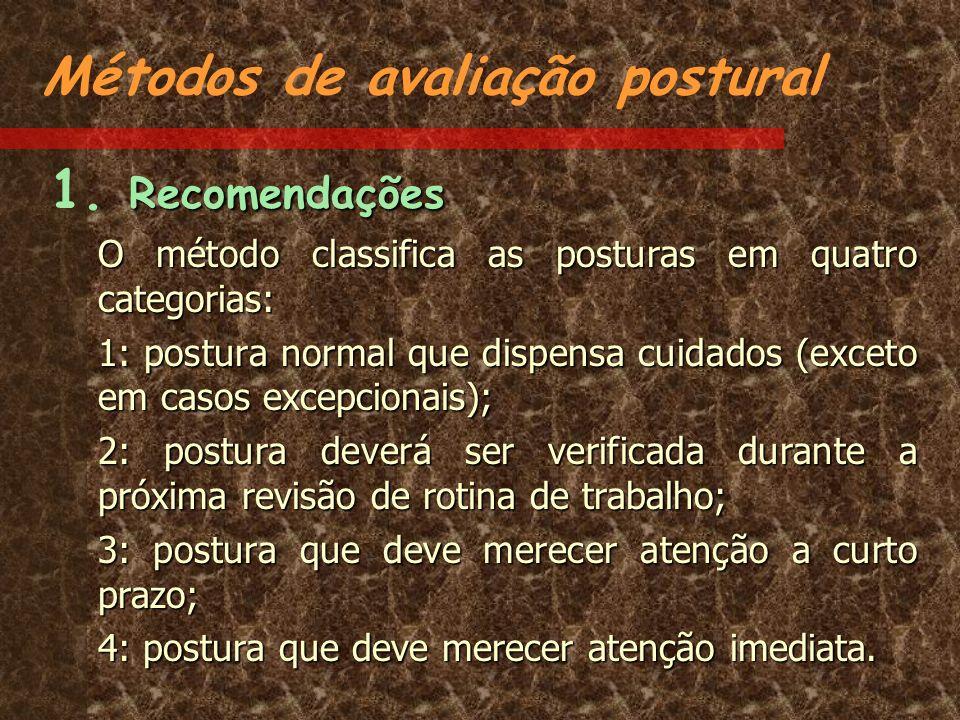 Métodos de avaliação postural Recomendações 1. Recomendações O método classifica as posturas em quatro categorias: 1: postura normal que dispensa cuid