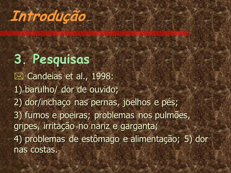 Introdução 3. Pesquisas Candeias et al., 1998: Candeias et al., 1998: 1) barulho/ dor de ouvido; 2) dor/inchaço nas pernas, joelhos e pés; 3) fumos e