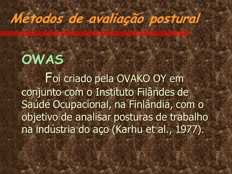 Métodos de avaliação postural OWAS F oi criado pela OVAKO OY em conjunto com o Instituto Filândes de Saúde Ocupacional, na Finlândia, com o objetivo d