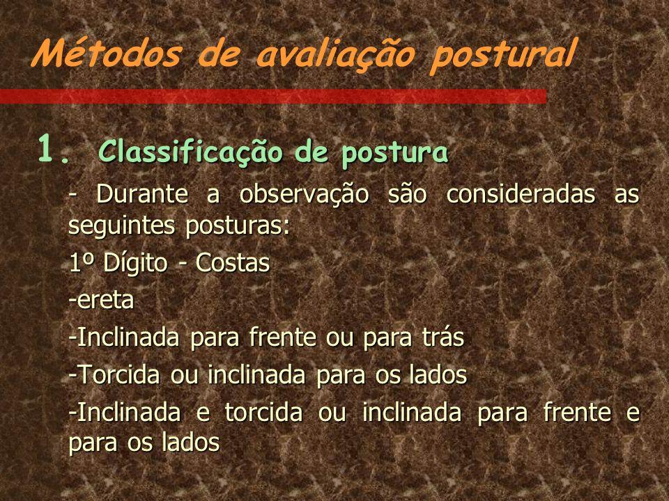 Métodos de avaliação postural Classificação de postura 1. Classificação de postura - Durante a observação são consideradas as seguintes posturas: 1º D