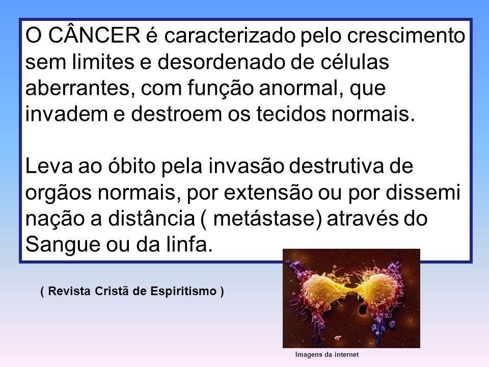 O CÂNCER é caracterizado pelo crescimento sem limites e desordenado de células aberrantes, com função anormal, que invadem e destroem os tecidos norma
