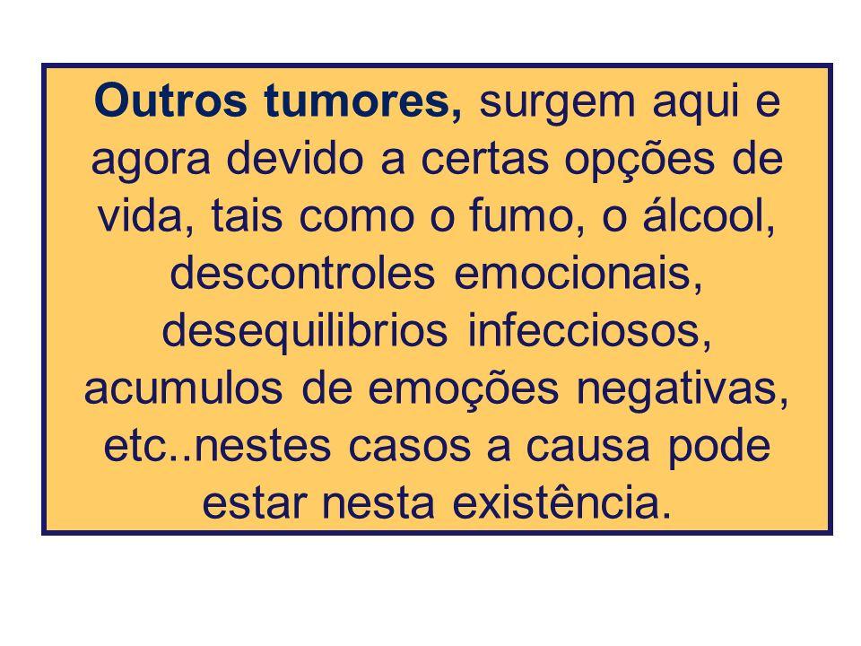Outros tumores, surgem aqui e agora devido a certas opções de vida, tais como o fumo, o álcool, descontroles emocionais, desequilibrios infecciosos, a