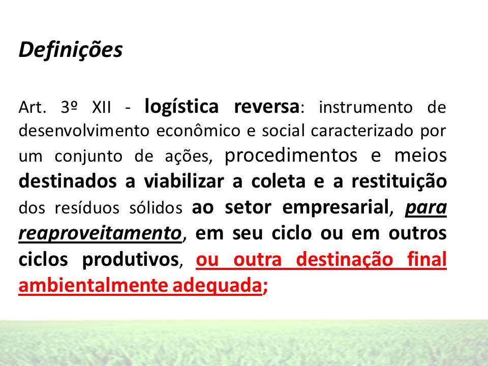 Definições Art. 3º XII - logística reversa : instrumento de desenvolvimento econômico e social caracterizado por um conjunto de ações, procedimentos e