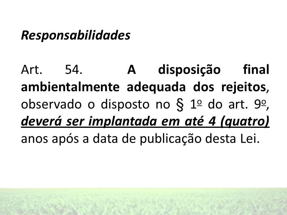 Responsabilidades Art. 54. A disposição final ambientalmente adequada dos rejeitos, observado o disposto no § 1 o do art. 9 o, deverá ser implantada e