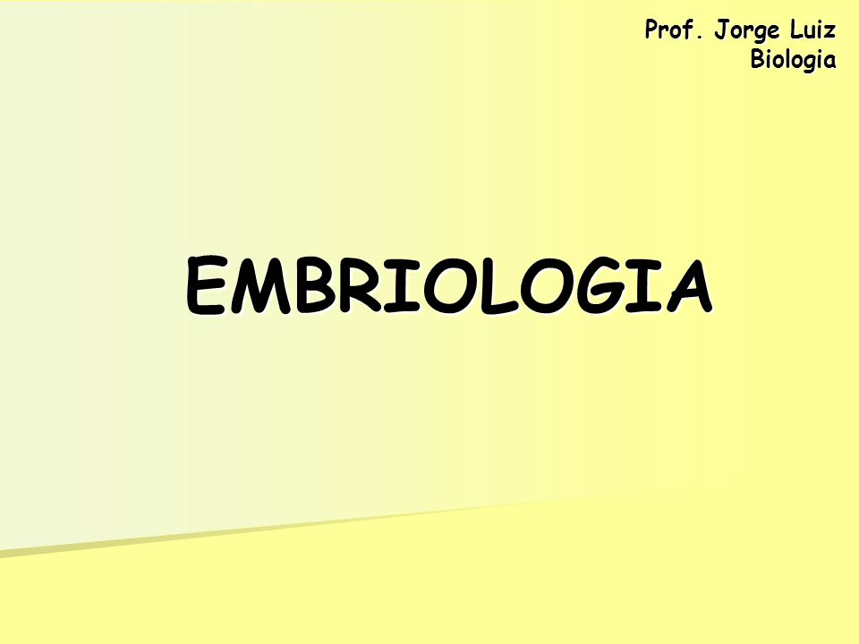EMBRIOLOGIA Prof. Jorge Luiz Biologia
