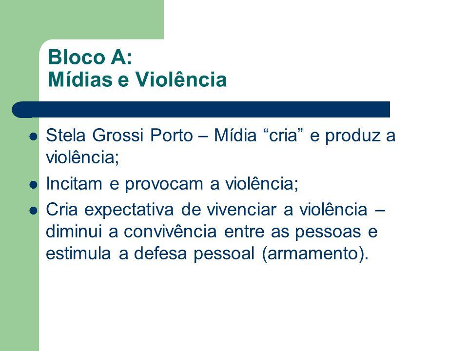 Bloco A: Mídias e Violência Luiz Eduardo Soares – Cultura do medo; Stela Grossi Porto – Mídia cria e produz a violência; Incitam e provocam a violênci