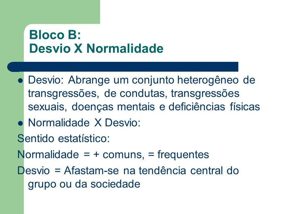Bloco B: Desvio X Normalidade Desvio: Abrange um conjunto heterogêneo de transgressões, de condutas, transgressões sexuais, doenças mentais e deficiên