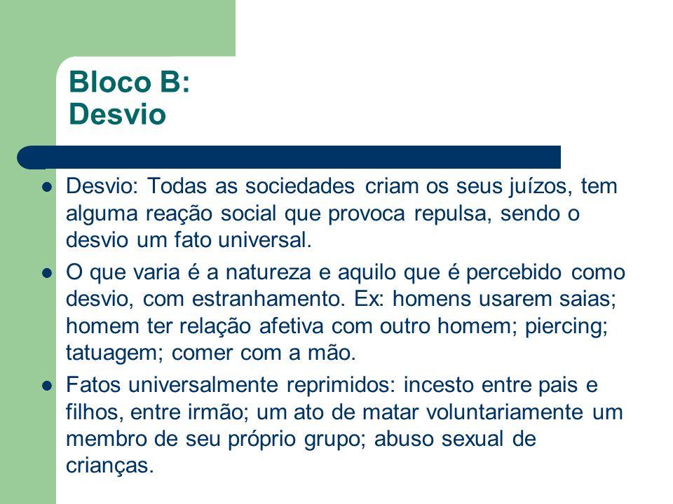 Bloco B: Desvio Desvio: Todas as sociedades criam os seus juízos, tem alguma reação social que provoca repulsa, sendo o desvio um fato universal. O qu