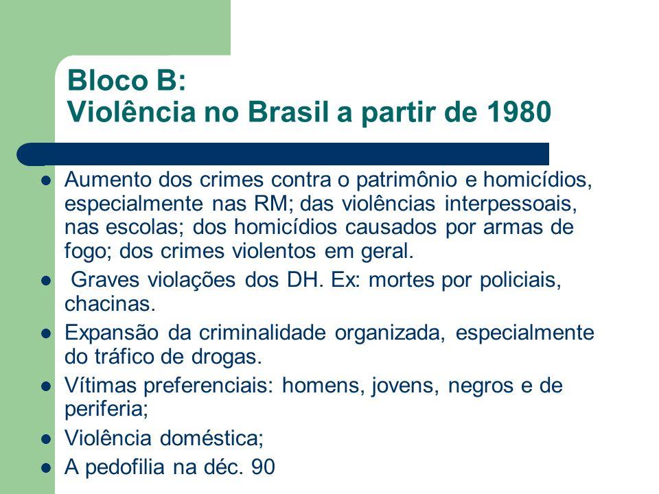 Bloco B: Violência no Brasil a partir de 1980 Aumento dos crimes contra o patrimônio e homicídios, especialmente nas RM; das violências interpessoais,
