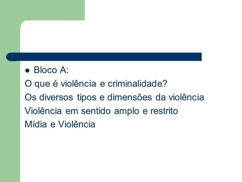 Bloco A: O que é violência e criminalidade? Os diversos tipos e dimensões da violência Violência em sentido amplo e restrito Mídia e Violência