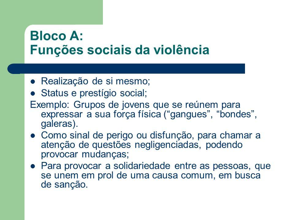 Bloco A: Funções sociais da violência Realização de si mesmo; Status e prestígio social; Exemplo: Grupos de jovens que se reúnem para expressar a sua