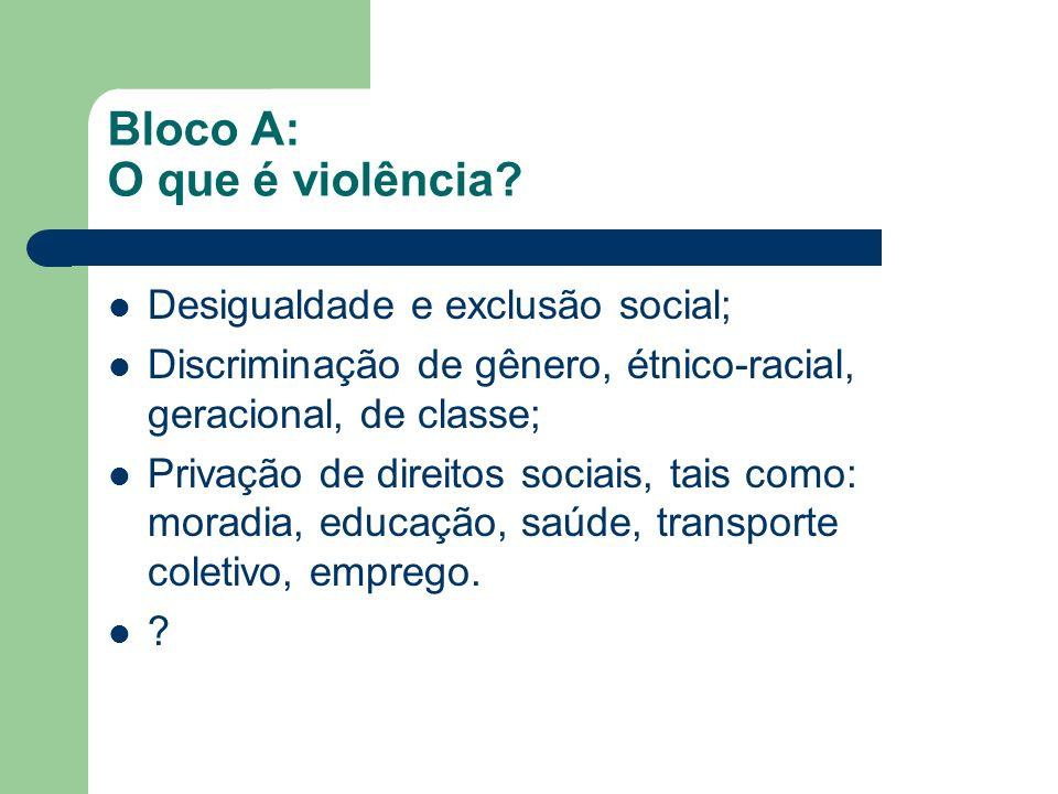 Bloco A: O que é violência? Desigualdade e exclusão social; Discriminação de gênero, étnico-racial, geracional, de classe; Privação de direitos sociai