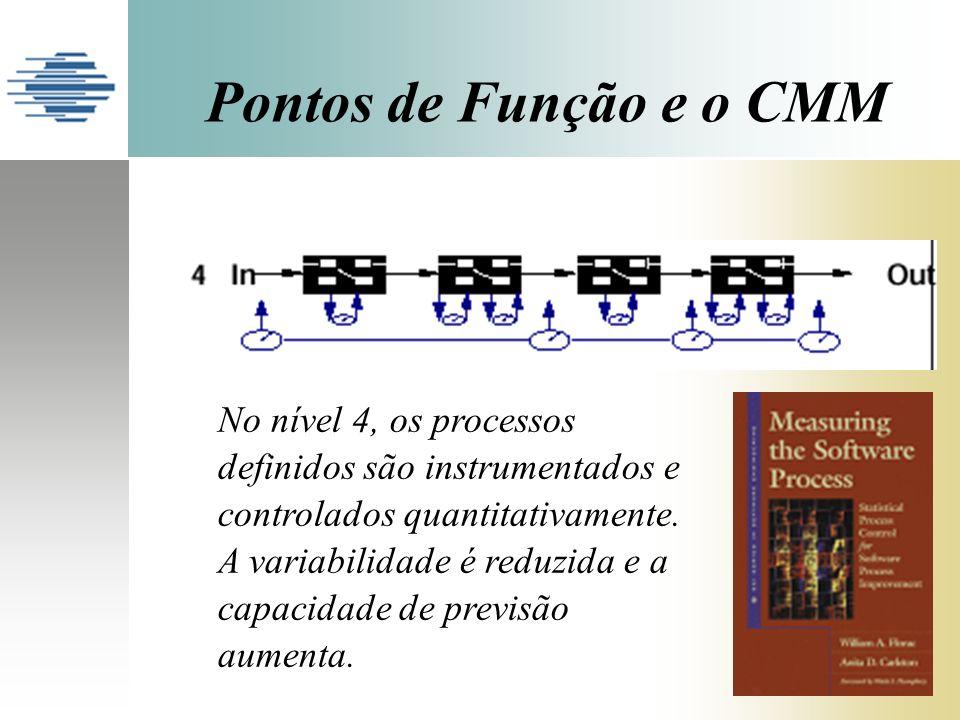 Pontos de Função e o CMM No nível 4, os processos definidos são instrumentados e controlados quantitativamente. A variabilidade é reduzida e a capacid