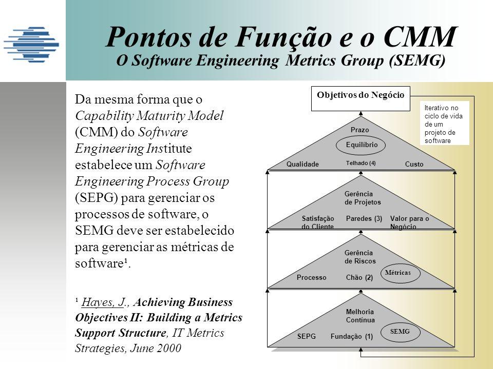 Pontos de Função e o CMM O Software Engineering Metrics Group (SEMG) Melhoria Contínua SEPG Fundação (1) SEMG Métricas Gerência de Riscos Processo Chã