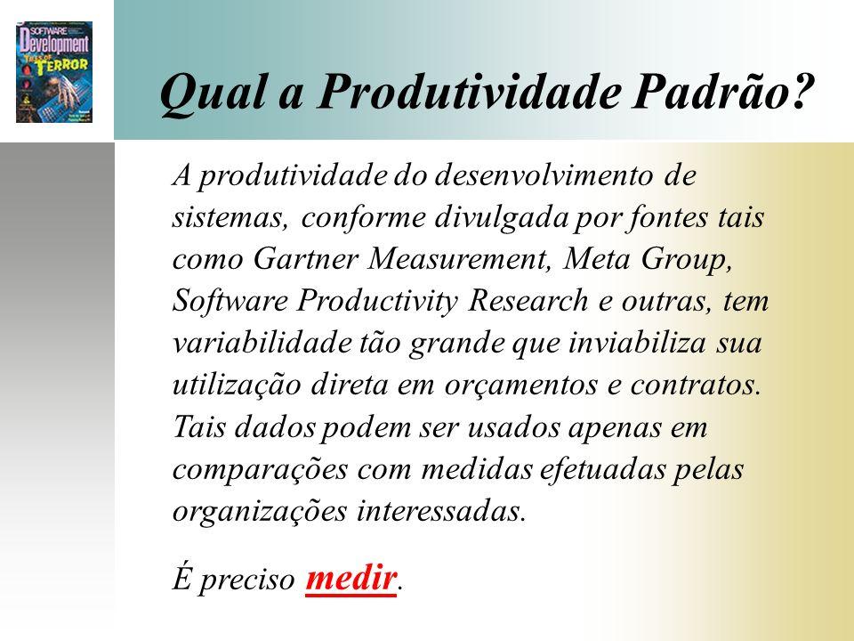 Qual a Produtividade Padrão? A produtividade do desenvolvimento de sistemas, conforme divulgada por fontes tais como Gartner Measurement, Meta Group,