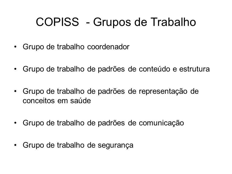 COPISS - Grupos de Trabalho Grupo de trabalho coordenador Grupo de trabalho de padrões de conteúdo e estrutura Grupo de trabalho de padrões de representação de conceitos em saúde Grupo de trabalho de padrões de comunicação Grupo de trabalho de segurança