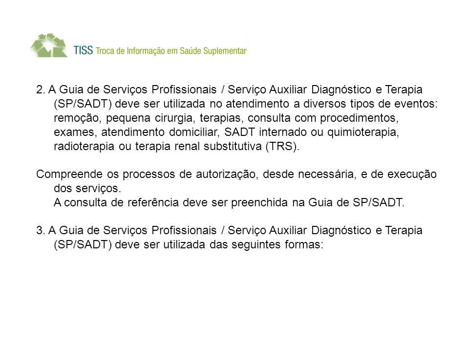 2. A Guia de Serviços Profissionais / Serviço Auxiliar Diagnóstico e Terapia (SP/SADT) deve ser utilizada no atendimento a diversos tipos de eventos: