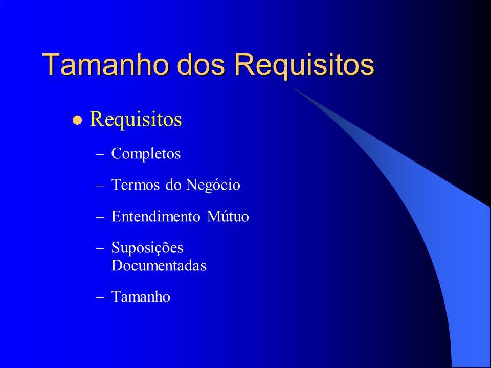 Tamanho dos Requisitos Requisitos –Completos –Termos do Negócio –Entendimento Mútuo –Suposições Documentadas –Tamanho