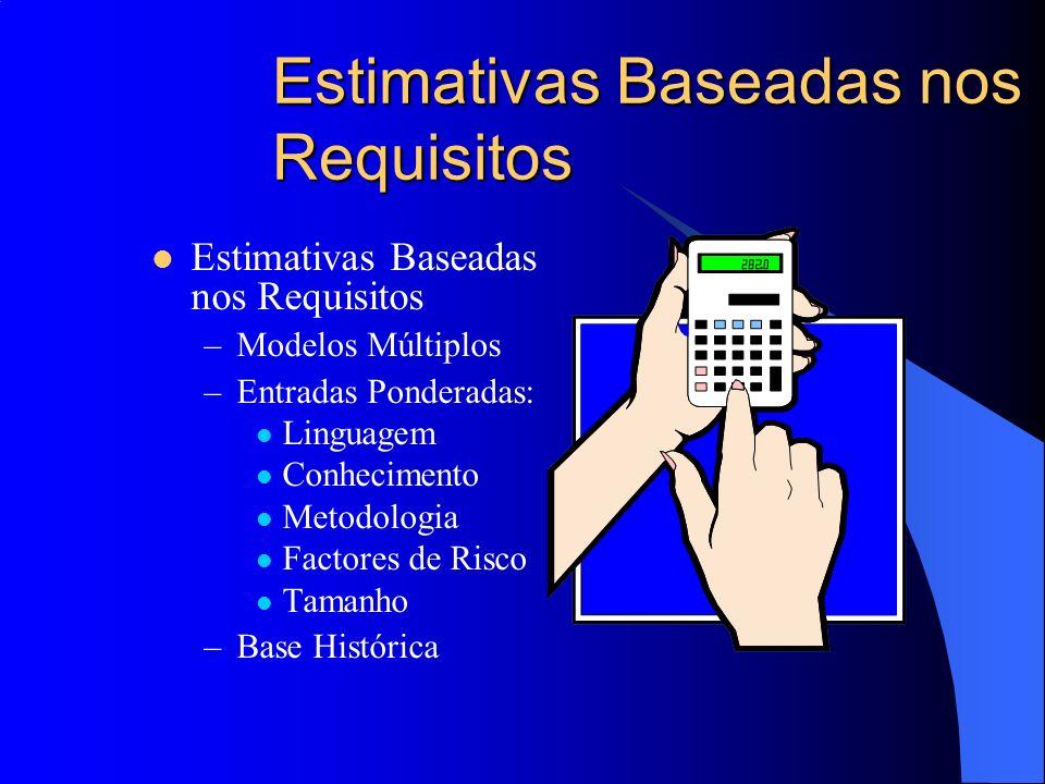 Estimativas Baseadas nos Requisitos –Modelos Múltiplos –Entradas Ponderadas: Linguagem Conhecimento Metodologia Factores de Risco Tamanho –Base Histór