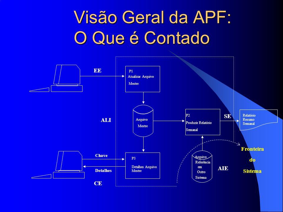 Visão Geral da APF: O Que é Contado EE ALI AIE CE Chave Detalhes P1 Atualizar Arquivo Mestre Arquivo Mestre P3 Detalhes Arquivo Mestre Relatório Resum
