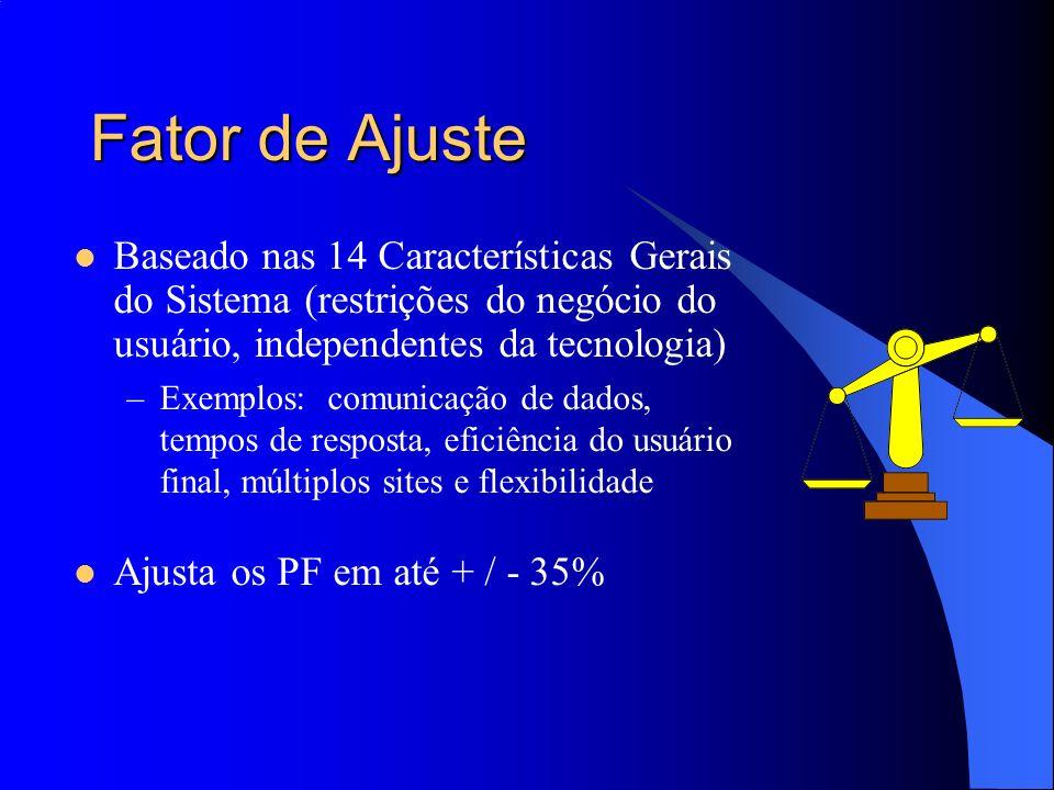 Fator de Ajuste Baseado nas 14 Características Gerais do Sistema (restrições do negócio do usuário, independentes da tecnologia) –Exemplos: comunicaçã