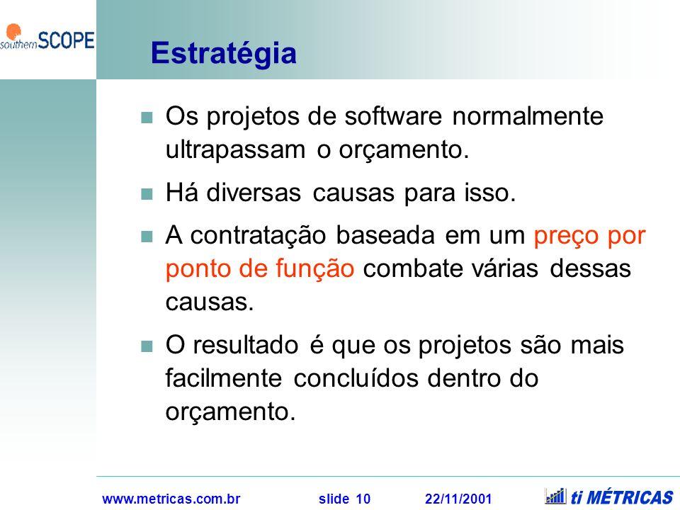www.metricas.com.br slide 10 22/11/2001 Estratégia Os projetos de software normalmente ultrapassam o orçamento. Há diversas causas para isso. A contra
