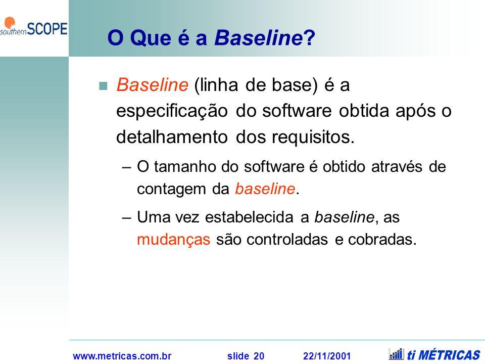 www.metricas.com.br slide 20 22/11/2001 O Que é a Baseline? Baseline (linha de base) é a especificação do software obtida após o detalhamento dos requ