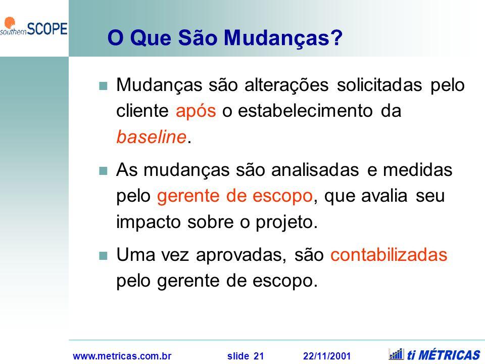 www.metricas.com.br slide 21 22/11/2001 O Que São Mudanças? Mudanças são alterações solicitadas pelo cliente após o estabelecimento da baseline. As mu