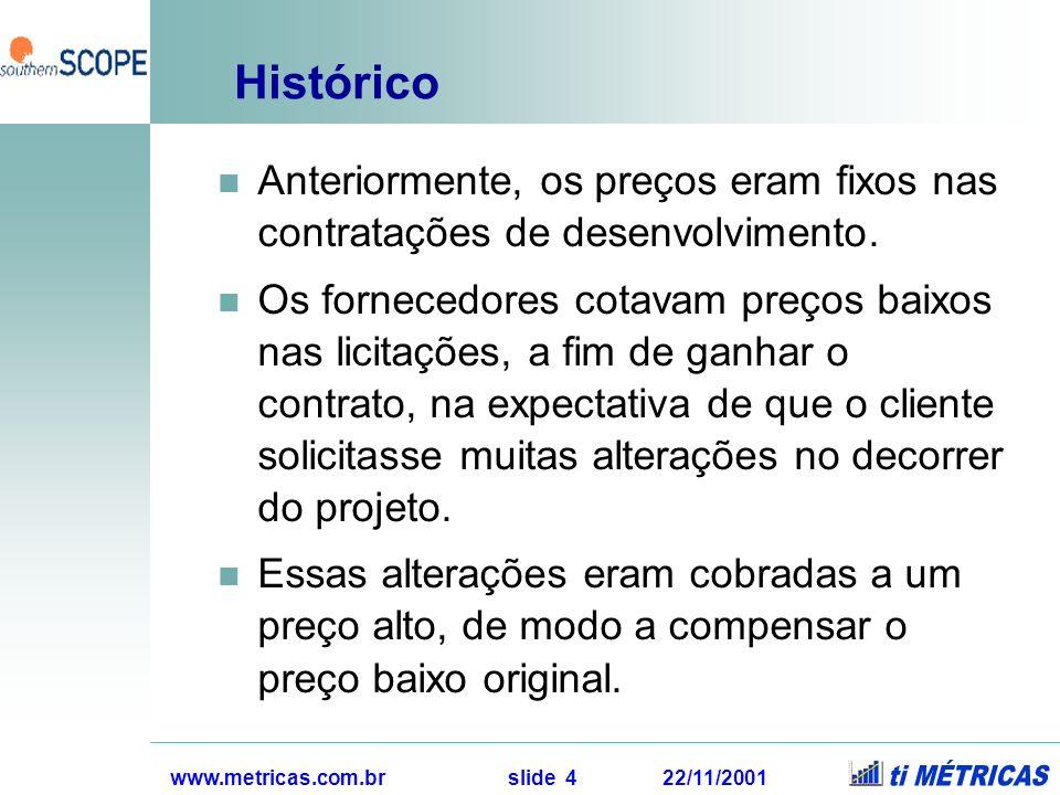 www.metricas.com.br slide 4 22/11/2001 Histórico Anteriormente, os preços eram fixos nas contratações de desenvolvimento. Os fornecedores cotavam preç