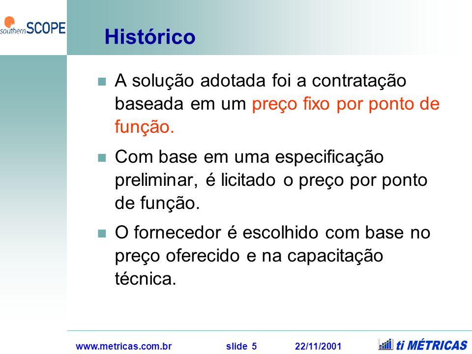 www.metricas.com.br slide 6 22/11/2001 Histórico O pagamento é efetuado com base no preço por ponto de função contratado, no tamanho do software entregue e nas modificações solicitadas ao longo do projeto.
