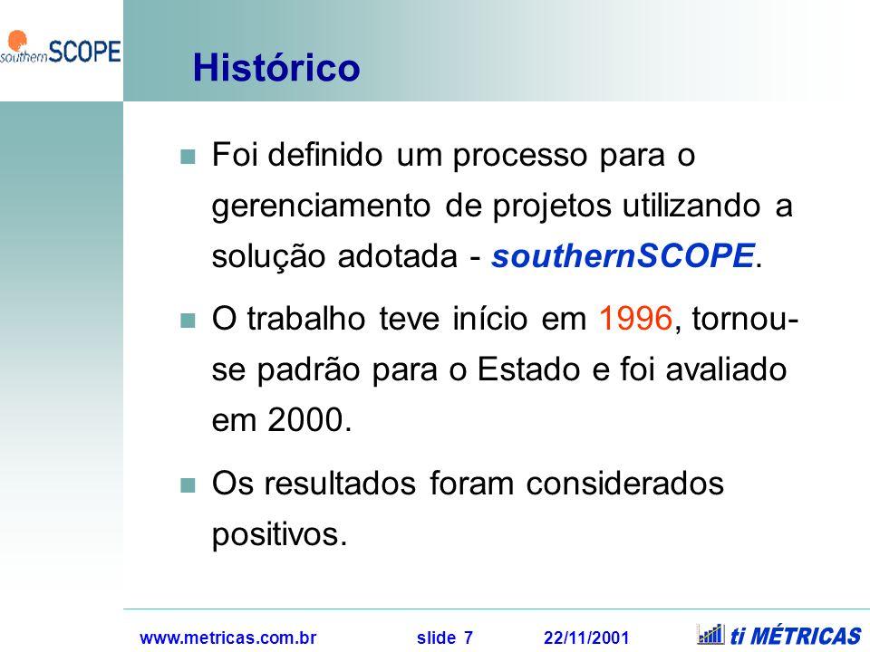 www.metricas.com.br slide 7 22/11/2001 Histórico Foi definido um processo para o gerenciamento de projetos utilizando a solução adotada - southernSCOP