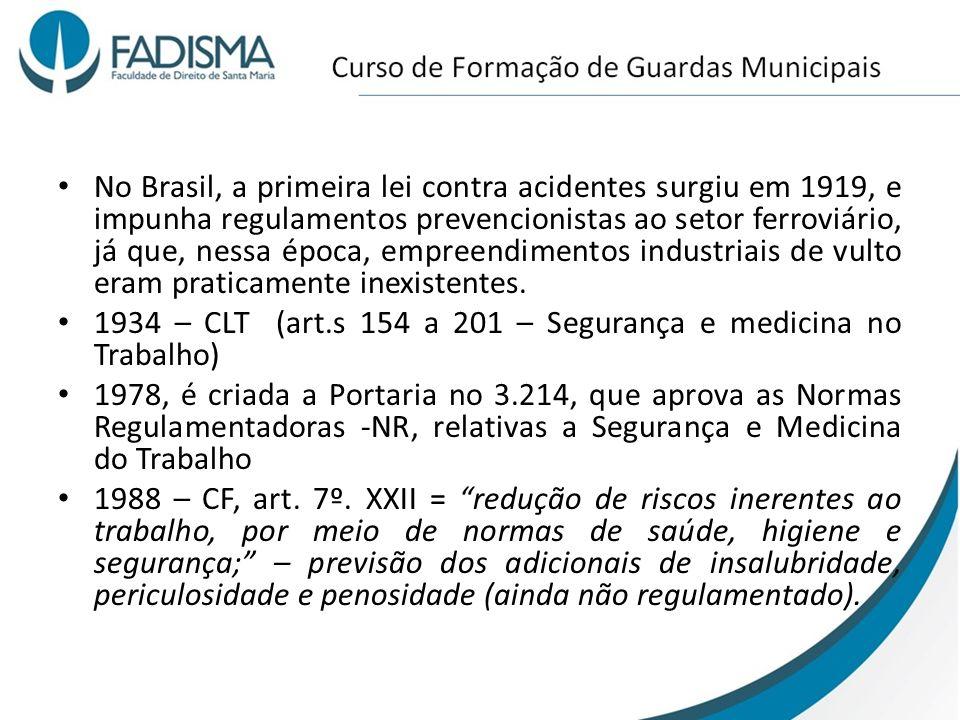 No Brasil, a primeira lei contra acidentes surgiu em 1919, e impunha regulamentos prevencionistas ao setor ferroviário, já que, nessa época, empreendi
