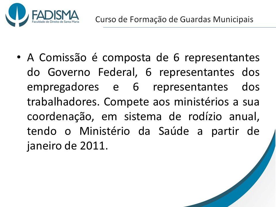 A Comissão é composta de 6 representantes do Governo Federal, 6 representantes dos empregadores e 6 representantes dos trabalhadores. Compete aos mini