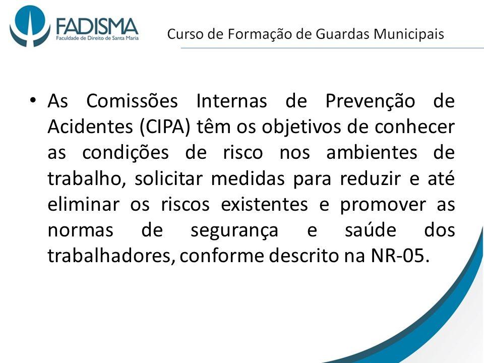 As Comissões Internas de Prevenção de Acidentes (CIPA) têm os objetivos de conhecer as condições de risco nos ambientes de trabalho, solicitar medidas