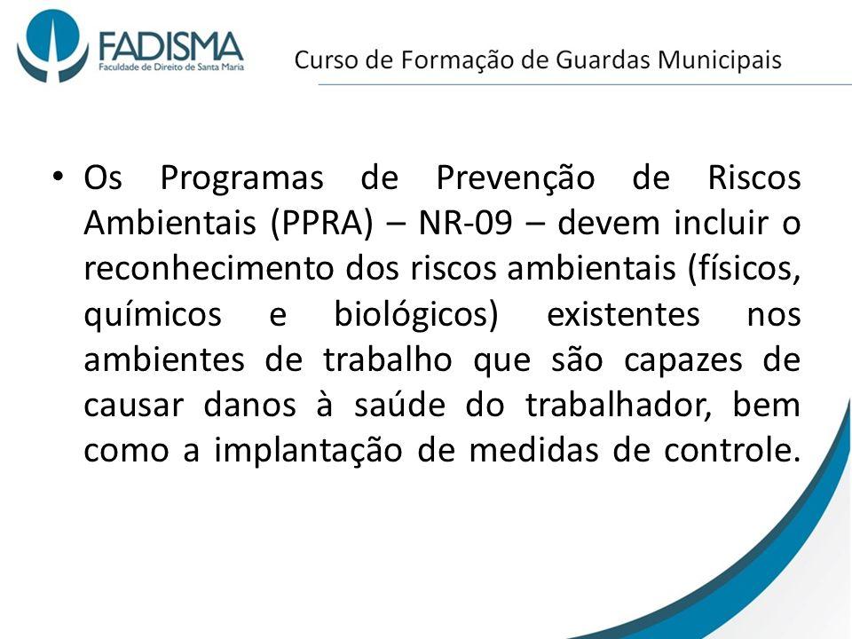 Os Programas de Prevenção de Riscos Ambientais (PPRA) – NR-09 – devem incluir o reconhecimento dos riscos ambientais (físicos, químicos e biológicos)