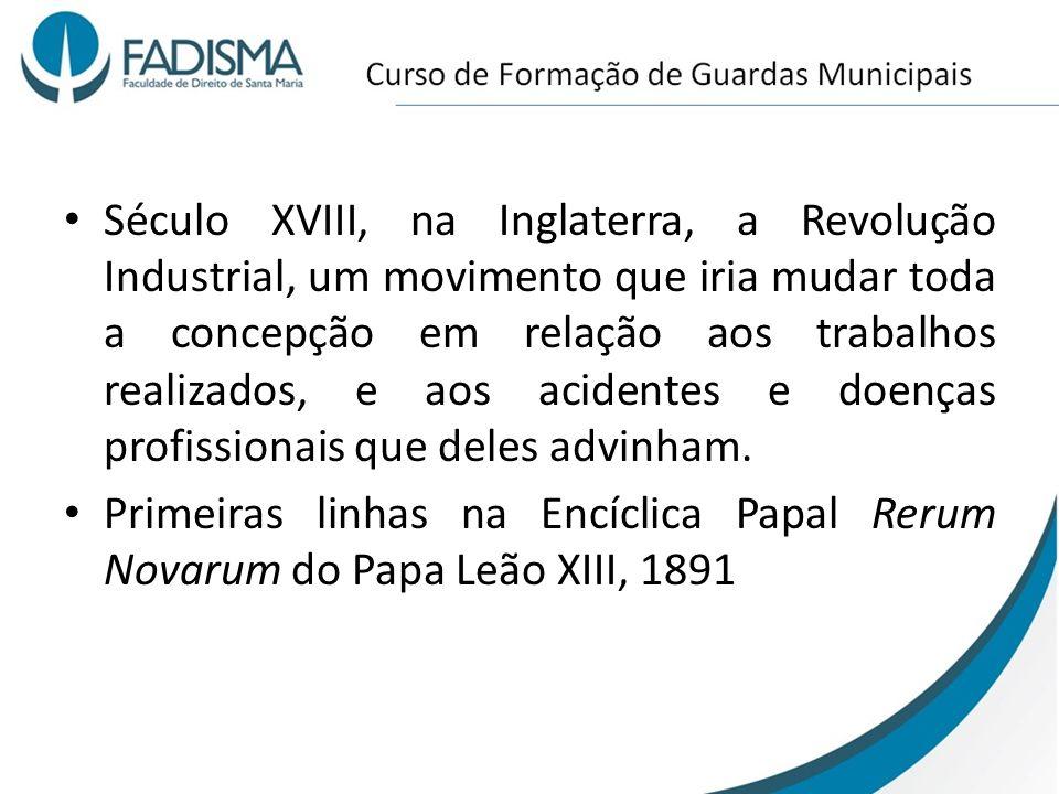 Século XVIII, na Inglaterra, a Revolução Industrial, um movimento que iria mudar toda a concepção em relação aos trabalhos realizados, e aos acidentes