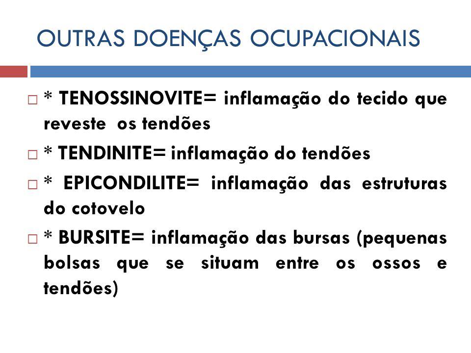OUTRAS DOENÇAS OCUPACIONAIS * TENOSSINOVITE= inflamação do tecido que reveste os tendões * TENDINITE= inflamação do tendões * EPICONDILITE= inflamação