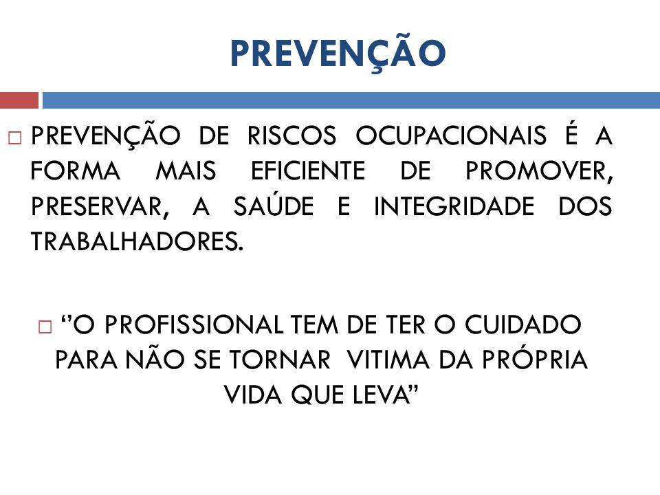 PREVENÇÃO PREVENÇÃO DE RISCOS OCUPACIONAIS É A FORMA MAIS EFICIENTE DE PROMOVER, PRESERVAR, A SAÚDE E INTEGRIDADE DOS TRABALHADORES. O PROFISSIONAL TE