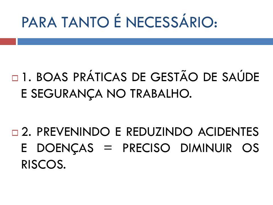 PARA TANTO É NECESSÁRIO: 1. BOAS PRÁTICAS DE GESTÃO DE SAÚDE E SEGURANÇA NO TRABALHO. 2. PREVENINDO E REDUZINDO ACIDENTES E DOENÇAS = PRECISO DIMINUIR