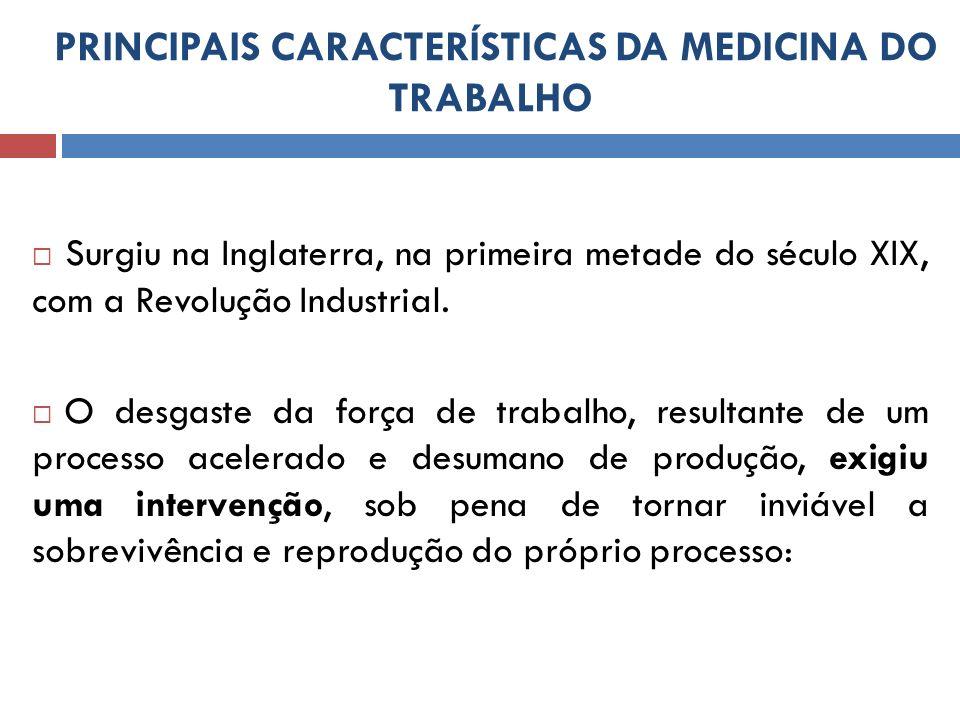 PRINCIPAIS CARACTERÍSTICAS DA MEDICINA DO TRABALHO Em 1953: criada através da Recomendação 97 (OIT) sobre aProteção da Saúde dos Trabalhadores: instava aos Estados membros da OIT que fomentassem a formação de médicos do trabalho qualificado.