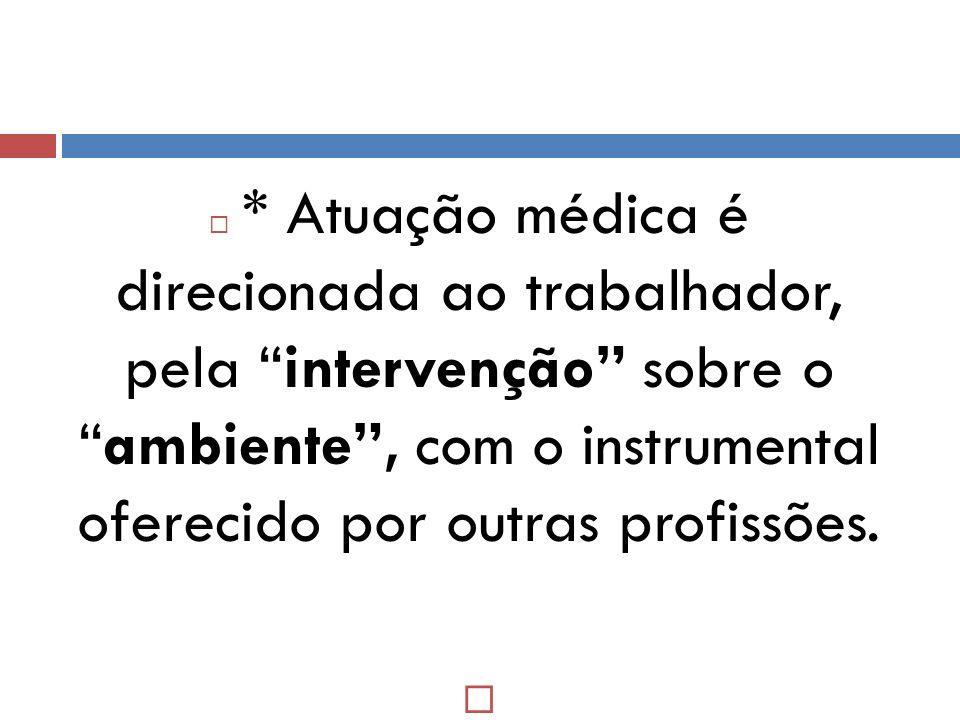 * Atuação médica é direcionada ao trabalhador, pela intervenção sobre oambiente, com o instrumental oferecido por outras profissões.