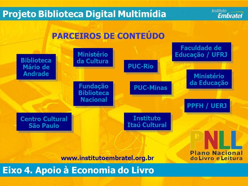 Eixo 4. Apoio à Economia do Livro Biblioteca Digital Multimídia PARCEIROS DE CONTEÚDO Eixo 4.