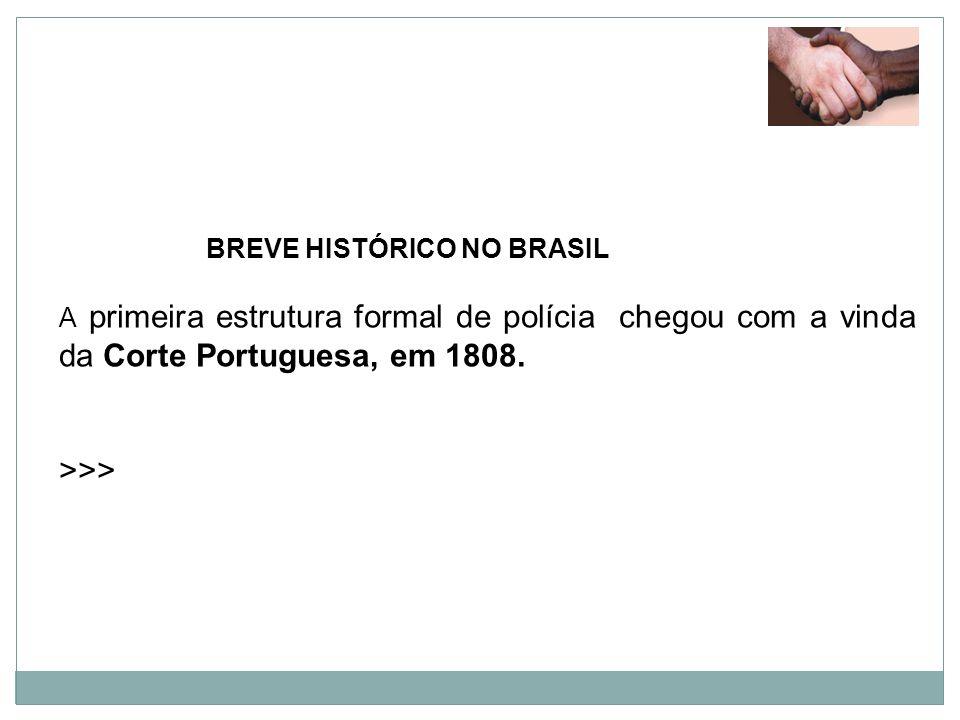 BREVE HISTÓRICO NO BRASIL A primeira estrutura formal de polícia chegou com a vinda da Corte Portuguesa, em 1808. >>>