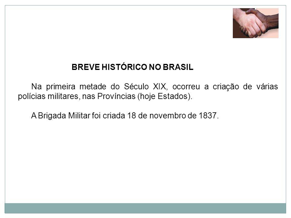 BREVE HISTÓRICO NO BRASIL Na primeira metade do Século XIX, ocorreu a criação de várias polícias militares, nas Províncias (hoje Estados). A Brigada M