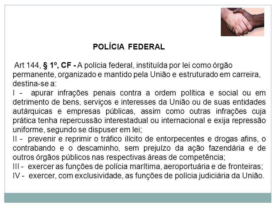 POLÍCIA FEDERAL Art 144, § 1º, CF - A polícia federal, instituída por lei como órgão permanente, organizado e mantido pela União e estruturado em carr